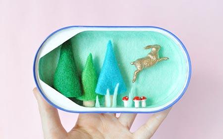イワシの缶詰を使ったミニチュア動物園?!紙とフェルトで作るジオラマ。