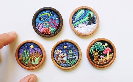 ハンドメイド 刺繍,くるみボタン 刺繍