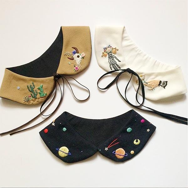 ハンドメイド 刺繍,付け襟,ハンドメイド,刺繍