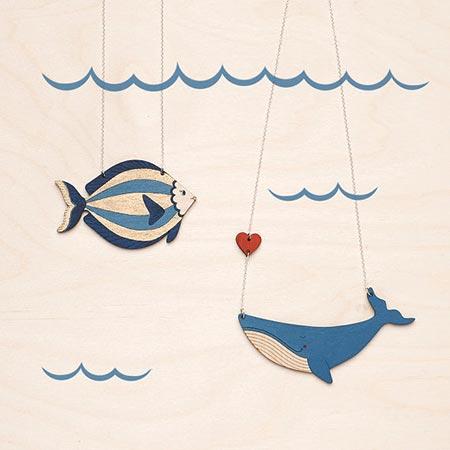 ハンドメイドネックレス クジラ,ハンドメイドネックレス 木,ハンドメイド,クジラ,魚