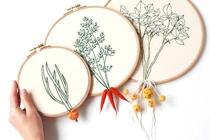 新鮮さが伝わる美味しそうな刺繍!ドイツ発Little Herb Bouquet。
